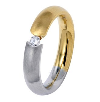 4MM Two Tone Stainless Steel Polished and Gold Color Plated Ring (Half and Half) with Floating CZ in Center