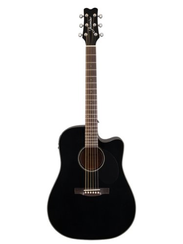 Jasmine Jd39Ce Dreadnought Cutaway Acoustic-Electric Guitar Bundle With Hardshell Case, Tuner, Strap, Strings, Picks, And Polishing Cloth - Black