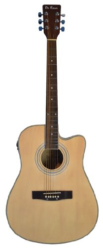 "De Rosa 41"" Inch Cutaway 4 Eq Acoustic Electric Guitar Natural With Gig Bag And Accessories & Directlycheap(Tm) Translucent Blue Medium Guitar Pick"