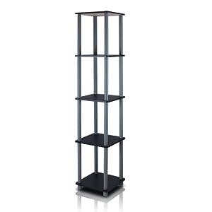 FURINNO 99132BK/GY 5-Tier Corner Square Rack Display Shelf, Black/Grey