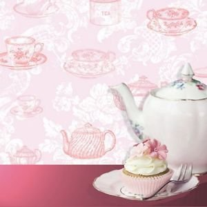 Coloroll Teacups Wallpaper - Pink by New A-Brend