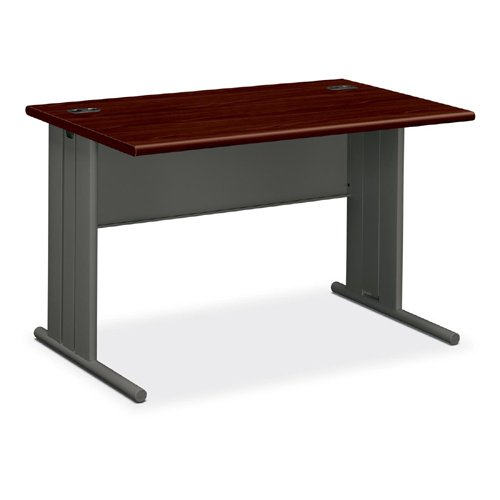 "Hon Stationmaster 66000 Series Desk - 48"" Width X 29.5"" Depth X 29.5"" Height - Radius Edge - Mahogany Top, Charcoal Frame"