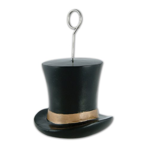 Beistle 1-Pack Top Hat Photo/Balloon Holder, 6-Ounce, Black and Gold - 1