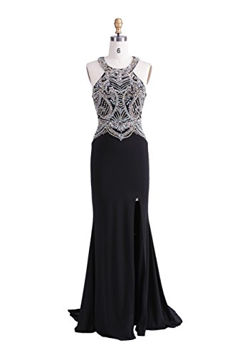 Dulamy&Finove Women's Beaded Sexy Back Halter Trailing Long Prom Dresses (0, BLACK) (Professional Dress Form 0 compare prices)