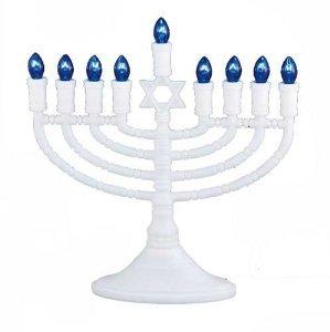 White Electric Light Up Deluxe Judaica Chanukah Hanukah Celebration Menorah-Great For Home Or Office