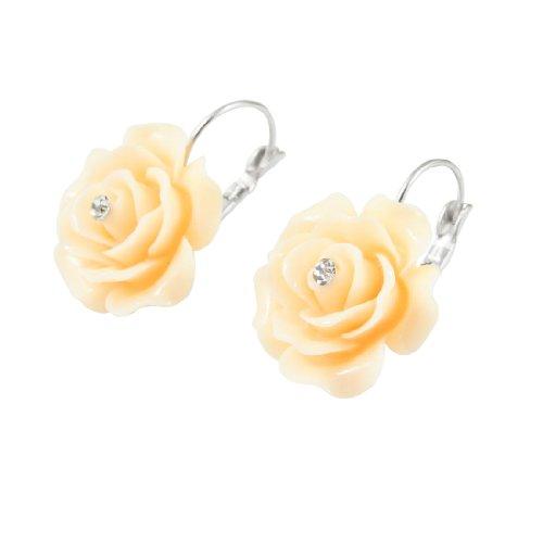 Rosallini Ladies Rhinestone Detailing Beige Flower Eardrop Pierced Earrings Pair