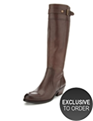 Autograph Leather Buckle & Strap Cuffed Long Boots with Insolia® & Stretch Zip