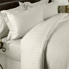 KING Size, CREAM Damask Stripe, 1200 Thread Count / 1200TC Long Staple 100-Percent Ultra Soft Egyptian Cotton, Sateen Weave, THREE (3) Piece Bed DUVET SET Including TWO (2) Shams / Pillow Cases