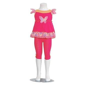 Baby Girls Size 18M Fuchsia Orange Floral Stripe Butterfly Capri Set