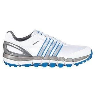 2014 Adidas Puro 360 Gripmore Sport Impermeabile Scarpe Da Golf -Standard Montaggio - Bianco/Bahia Blu, EU 42 2/3