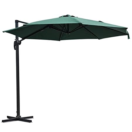 AV Prime Inc. Outdoor Offset Patio Umbrella: 10 Foot Green with Stand