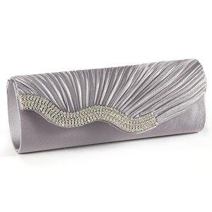 Silver Grey SATIN Wavy CRYSTAL DIAMANTE EVENING CLUTCH BAG PURSE BRIDAL PROM
