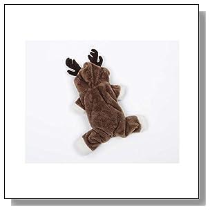 ARJOSA? Pets Dogs Cats Cozy Reindeer Christmas Costume Hoodie Winter Warm Coat (L)