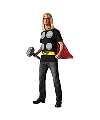 Marvel Comics Classic Thor Adult Mens Halloween Costume T-shirt Cape, Multi