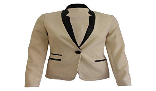 Luv Shu Donna Navy in pelle color crema pannello Trim contrasto giacca Blazer SZ UK8-14 Cream 68