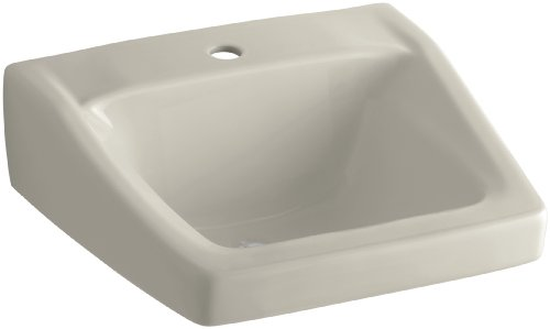 Best KOHLER G Chesapeake Inch x Inch Wall Mount Concealed Arm Carrier Bathroom Sink with Single Faucet Hole Sandbar