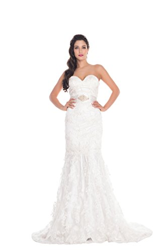 VogueBridal Strapless Beaded All-over Embroidered Party Dress With Special Sash Belt