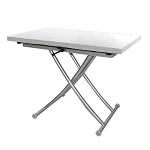 Table basse relevable rallonges easy blanche cuisine maison - Table basse relevable blanche ...