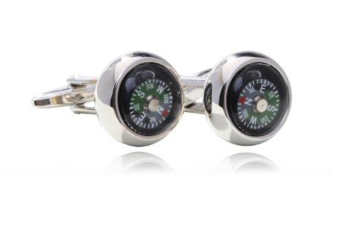 Digabi Men'S Jewelry Compass Design 18K Platinum Plated Cufflinks Cuff For Men Color Black