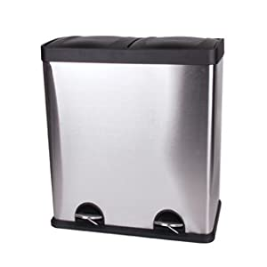 poubelle inox 60 litres poubelle tri s lectif 2 bacs 2 x 30 litres x x cm. Black Bedroom Furniture Sets. Home Design Ideas