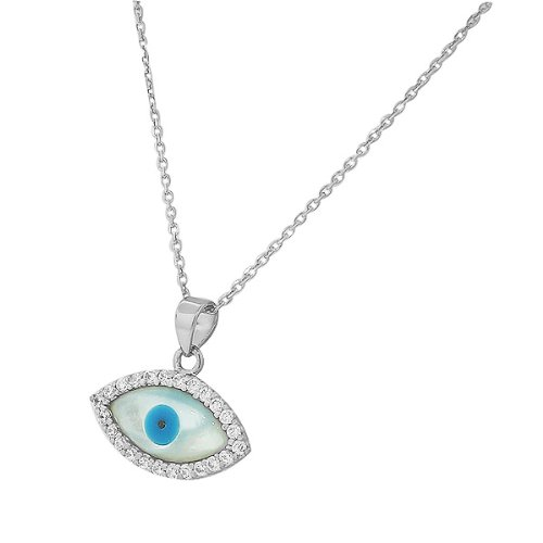 Sterling Silver White Crystals Cz Pearl Womens Evil Eye Hamsa Pendant Necklace
