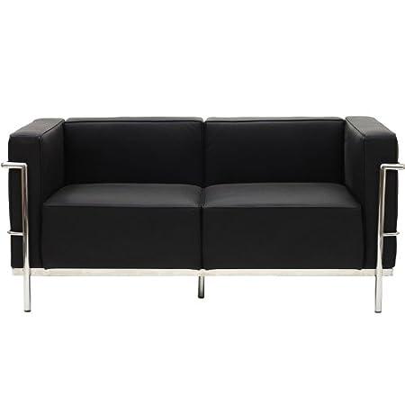 Charles Le Corbusier LC2 Black Grande Loveseat