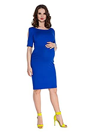 My Tummy Women's Maternity Dress Sexy Sheath Emily Slit Sleeves Cobalt