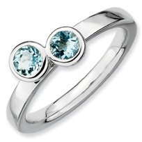 0.49ct Silver Stackable Db Round Aquamarine Band. Sizes 5-10