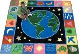 "Joy Carpets Kid Essentials Geography & Environment EarthWorks Rug, Multicolored, 7'7"" x 7'7"""