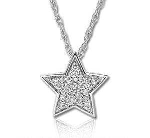 14k White Gold 1/10 Carat Diamond Star Necklace
