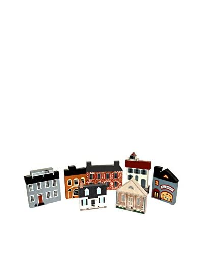 Uptown Down Set of 7 Vintage Wooden Decorative Home Fronts, Multi