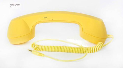 Go-Tronix Yellow Classic Retro Handset For All Iphones, Ipads, Androids, Blackberry, Samsung Galaxy, And Other Cellphone Devices