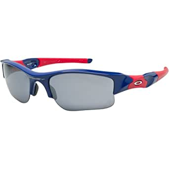 Oakley Atlanta Braves Flak Jacket XLJ Men's Special Editions Major League Baseball Outdoor Sunglasses/Eyewear - Blue/Black Iridium / One Size Fits All