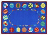 "Joy Carpets Kid Essentials Early Childhood Oval Bouncy Balls Rug, Multicolored, 10'9"" x 13'2"""
