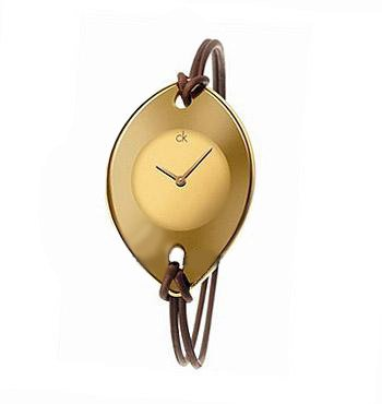 Calvin Klein Quartz, Genuine Brown Leather Spaghetti Strap with Gold Suspension Dial - Women's Watch K3323409