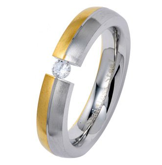 4MM Two Tone Polished Stainless Steel Wedding Ring with Floating CZ in Center For Women