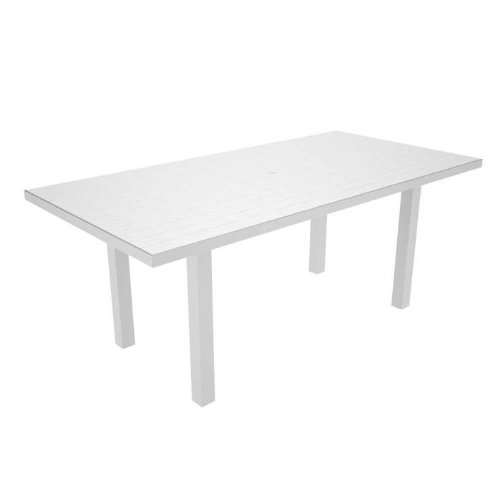 Polywood Euro All-Weather Rectangle Dining Table, Silver with White Slats