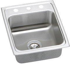 Elkao #Elkay MLR17202 Elkay 18 Gauge Stainless Steel 17 Inch x 20 Inch x 7.625 Inch single Bowl Top Mount Coved Corners Kitchen Sink, 2 Faucet Holes,