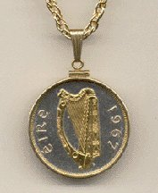 "Irish Penny ÒHarpÓ (Half Dollar Size) Two Tone Gold Filled Bezel Coin with 24"" Necklace"