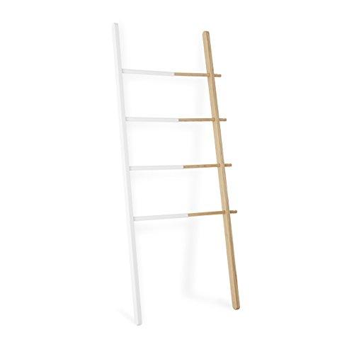 Umbra 320260-668 Furniture Hub Leiter, Kleidersständer, Garderobenständer, Ständer, Handtuchhalter, Ausfahrbar, Eschenholz und lackierter Stahl, weiß / natur