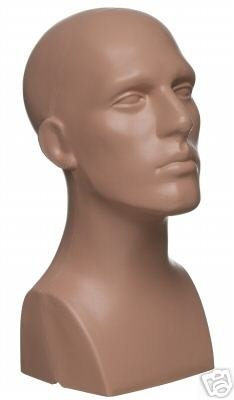 "15"" Tall Male Mannequin Head Durable Plastic Flesh (50013)"