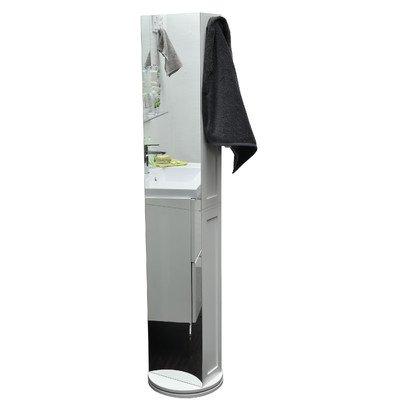 Drehbares-Schrankregal-frs-Badezimmer-6-Fcher-Spiegel-2-Handtuchhaken-Farbe-WEI