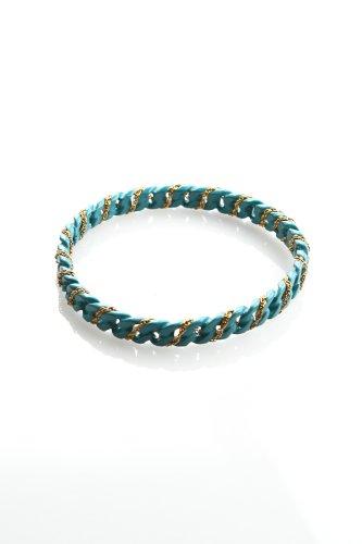 Sparkling Sage - Small Chain Bracelet Wrapped with Gold Chain (Turquiose)