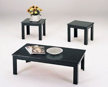 Black Friday 3 Piece Black Wood Veneer Coffee Table Set With Coffee Table And 2 Side Tables Sale