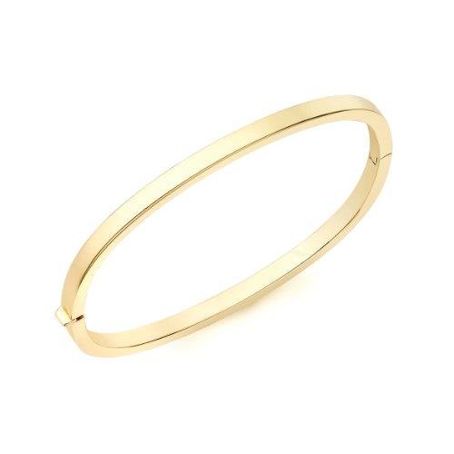 9Ct Yellow Gold Rectangular Tube Bangle