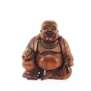 20cm happy bouddha heureux rieur en bois cuisine maison. Black Bedroom Furniture Sets. Home Design Ideas