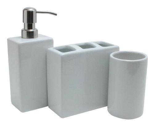 Nuvo Design 3-Piece Nova Ceramic Bath Set, White