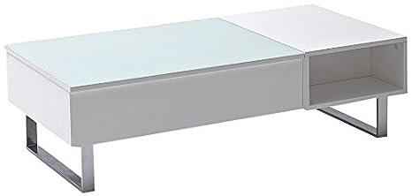 Robas Lund Couchtisch Wohnzimmertisch Joe Hochglanz weiß verchromt Lift-Funktion 120 x 35-60 x 60 cm 58140W54