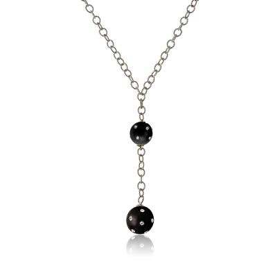 Fad & Fab Sterling 925 Silver Link Chain Necklace with Hanging Black Enamel Two-Ball Set Pendant(WoW !With Purchase Over $50 Receive A Marcrame Bracelet Free)