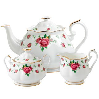 Royal Albert New Country Roses White Teaset, 3-Piece (Country Teapot compare prices)